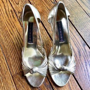 STEVEN Metallic Gold Sandals, 7.5M